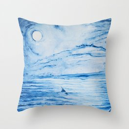 Full moon over shallow water Throw Pillow