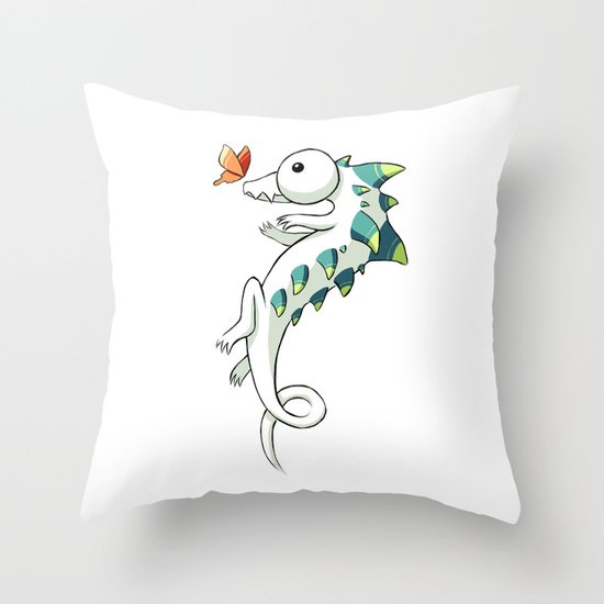 Crocodile and a Butterfly Throw Pillow
