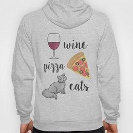 Wine Pizza Cats Hoody