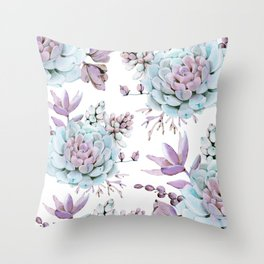 Turquoise and Violet Succulents Throw Pillow