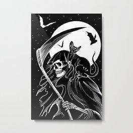 Grim Reaper & Cat Metal Print