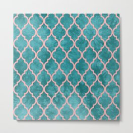 Classic Quatrefoil Lattice Pattern 910 Turquoise and Pink Metal Print