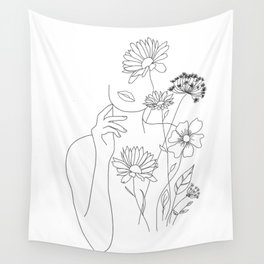 Minimal Line Art Woman with Flowers III Wall Tapestry