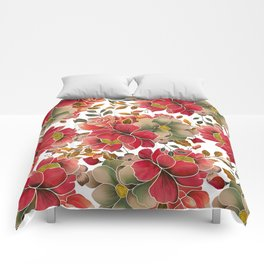 Elegant coral red green watercolor summer floral Comforters