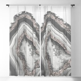 Agate Rose Gold Glitter Glam #4 #gem #decor #art #society6 Sheer Curtain