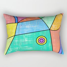 Colorful geometric abstract print, primary colors print Rectangular Pillow