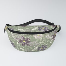 plum purple sage doodle feathers and flowers Fanny Pack