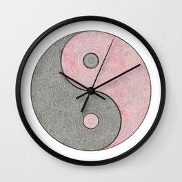 Yin Yang Esoteric Symbol Pastel Pink And Grey Wall Clock