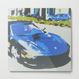 Chrome Ferrari Metal Print