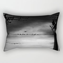 Black and White Birds on a Wire Rectangular Pillow