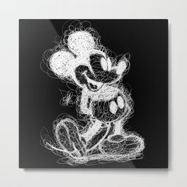 Mickey Mouse inverted Scribble Metal Print