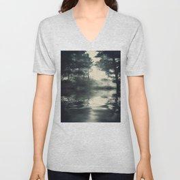 Misty pine forest Unisex V-Neck
