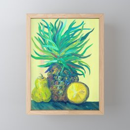 Pear and Pineapple Framed Mini Art Print