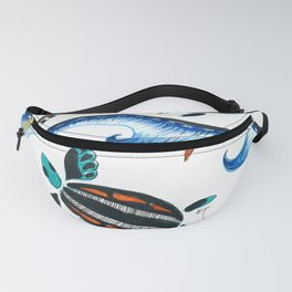 Sea Turtles And Waves Doodle Ink Fanny Pack