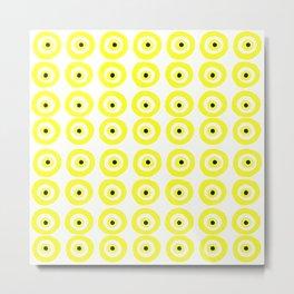 Summer Sunshine Evil Eye Lemon Yellow Metal Print