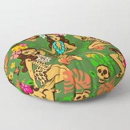 Tiki Temptress on Green Floor Pillow