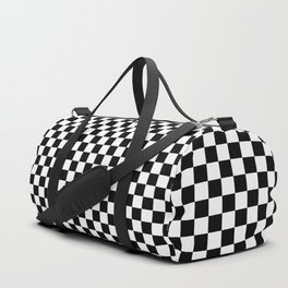 Black White Checks Minimalist Duffle Bag