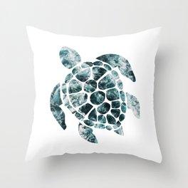 Sea Turtle - Turquoise Ocean Waves Throw Pillow