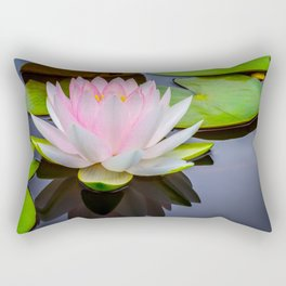 Pink Lotus & Green Lily Pads On A Jet Black Pond Rectangular Pillow