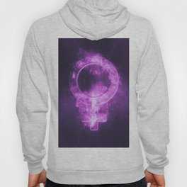 Female symbol. Abstract night sky background Hoody