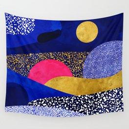 Terrazzo galaxy blue night yellow gold pink Wall Tapestry