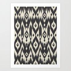 Black & Cream Tribal Ikat Art Print