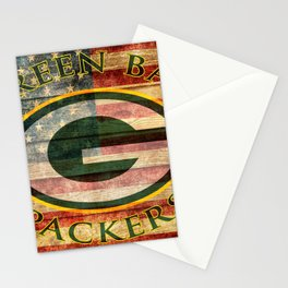 Packers poster with vintage US flag in the background soc6 Stationery Cards