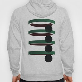 Geometric coloured architectural but abstract urban circles and elipses in green  and red graphic Hoody