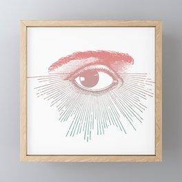 I See You. Pink Turquoise Gradient Sunburst Framed Mini Art Print
