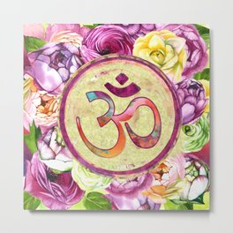 Golden OM symbol on Pastel Watercolor pattern Metal Print
