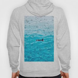 Orca Whale gliding through the water on a rainy day Hoody