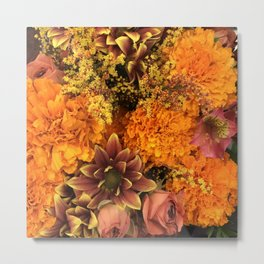 Autumn Floral Bouquet in Bright Orange and Pink Metal Print