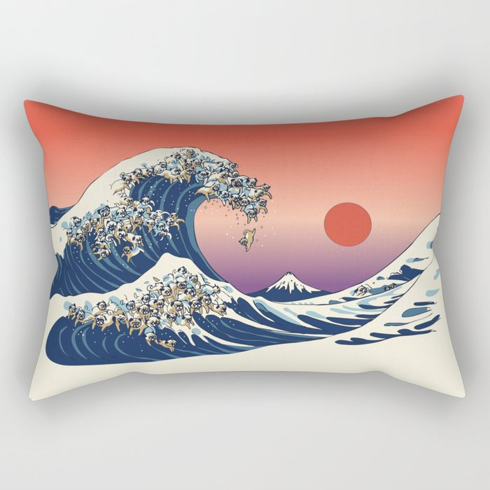 The Great Wave of Pug Rectangular Pillow