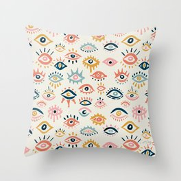 Mystic Eyes – Primary Palette Throw Pillow