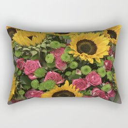 Sunflowers and Little Red Roses Rectangular Pillow