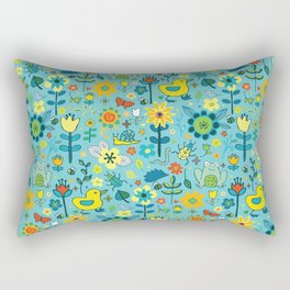 Ducks and frogs in the garden Rectangular Pillow