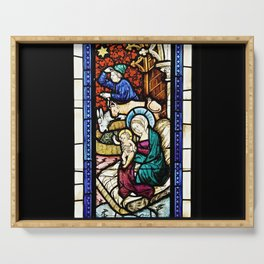Medieval Stained Glass Painting Nativity Scene Christmas Serving Tray