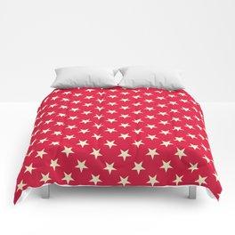 Cream Yellow on Crimson Red Stars Comforters
