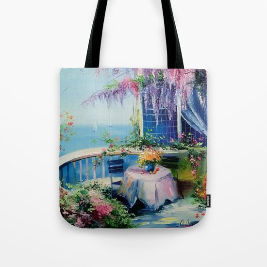 On the balcony of the sea Tote Bag