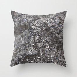 Rome city map Throw Pillow