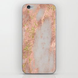 Rose Gold Marble with Yellow Gold Glitter iPhone Skin