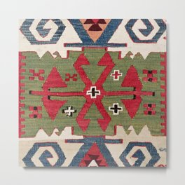 Red Diamond Arrow Konya // 19th Century Authentic Colorful Blue Green Cowboy Accent Pattern Metal Print