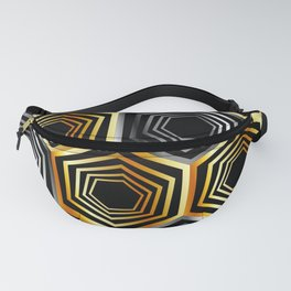 Gold and silver hexagonal composition Fanny Pack