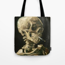 Van Gogh Head of a skeleton with a burning cigarette Tote Bag