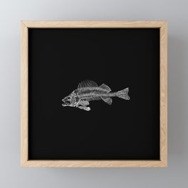 Spooky Fish Skeleton Print Illustration Framed Mini Art Print