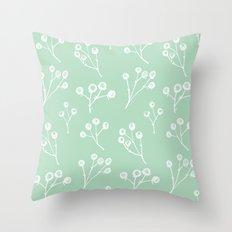 berries - mint Throw Pillow