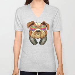 Funny Bulldog design Dog DJ Listening Music With Headphones Unisex V-Neck