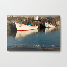 Fishing boats and seagulls Metal Print