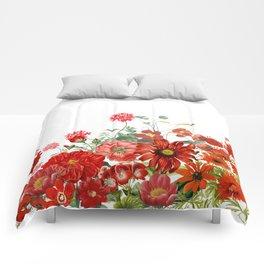 Vintage & Shabby Chic - Red Summer Flower Garden Comforters