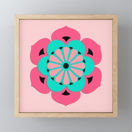 Lotus Flower Mandala, Coral Pink and Turquoise Framed Mini Art Print
